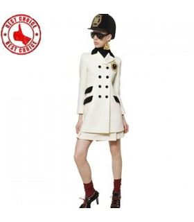 Trendy fashion long white coat