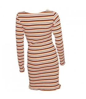 Robe longue manches orange rayé