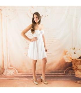 Robe de mariée corset dentelle courte embellie