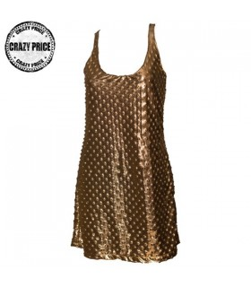 Ostrich pattern metallic gold dress