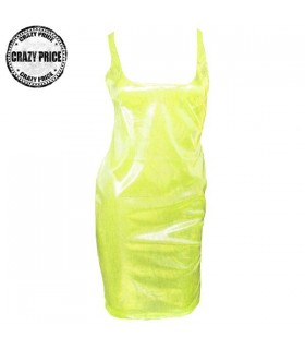 Neon yellow mini metallic dress