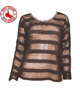 Black transparent stripes sequin embellished sweater