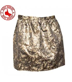 Golden brocard mini skirt