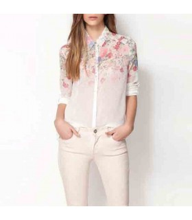 Flower print soft chiffon women shirt