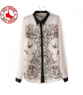 Camicia donna moderna di uccelli e fiori