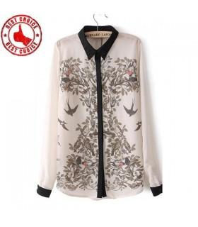 Vögel und Blumen modernes Frau Hemd
