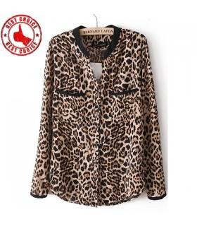 Camicia a manica lunga stampa selvaggia a leopardo