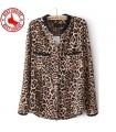 Leopard Wilddruck langärmelige T-Shirt