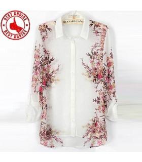 Chiffon d'impression fleurs chemise vintage