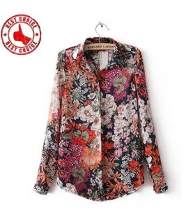 Stand collar flower print shirt