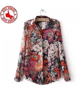 Stand colletto della camicia stampa fiore
