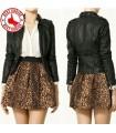 Leopard print elastic waist skirt