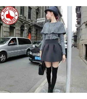 Grey modern cut mini skirt