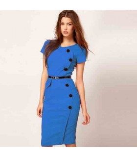 Classic blue elegant bodycon stretchy dress