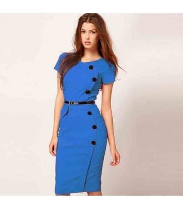 cfdfecf4b399ef Klassisch elegant blau bodycon dehnbar Kleid Farbe Blau Größe L