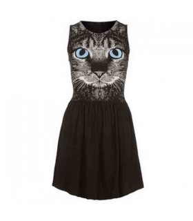 Cat print cute dress