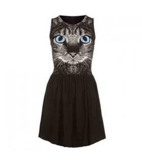 Katze print süßes Kleid