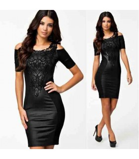 Schwarzes Leder Look Bodycon sexy Kleid