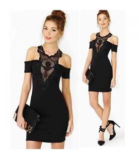 Spitzen Kragen verziert tiefen V-Ausschnitt Kleid