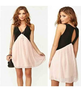 Casual V-neck chiffon pink dress