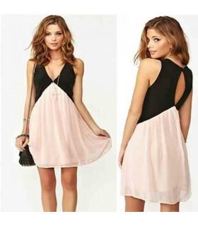 Casual V-neck chiffon pink dress