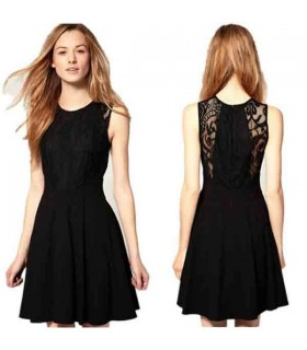 Black lace sleeveless tank dress
