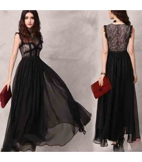 Chíffon maxi dress lace embellished