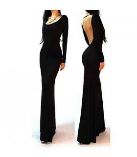 Schwarzes Trikot offenen Rücken Maxi-Kleid