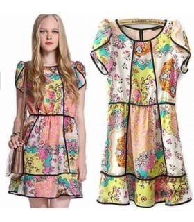 Colored print chiffon cute dress