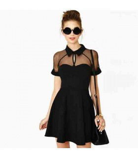Chiffon vintage hollow out chic dress