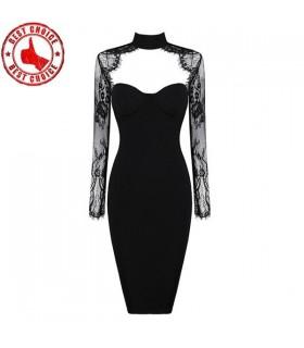 Moderne Schnitte satin Stickerei Kleid Langarm