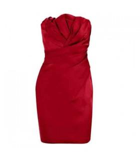 Piegato elasticizzato senza spalline abito rosso caldo