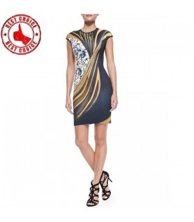 Graphic printed bodycon dress