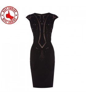 Black cutwork dress
