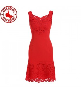 Red cutwork Kleid