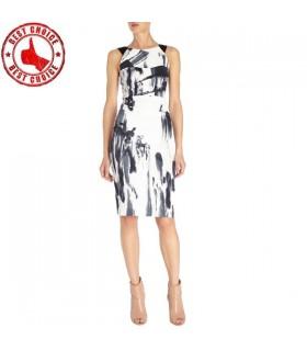 Weiße Grafik moderne Schnitt Kleid