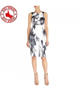 White graphic modern cut dress