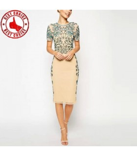 Beadwork cute beige dress