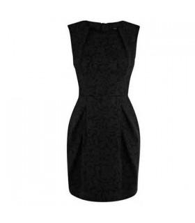 Brokat schwarz drucken Blase Kleid