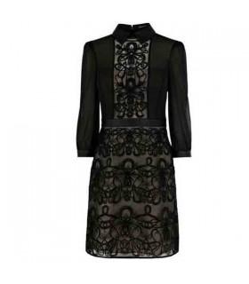 Lange Ärmel schwarze Grafik Spitzen Stickerei Kleid