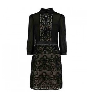 Long sleeve black graphic lace embroidery dress