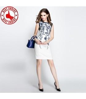 Weiß Baumwolle gedruckten Kleid