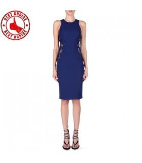 Elektrische blau satin Pencil Kleid