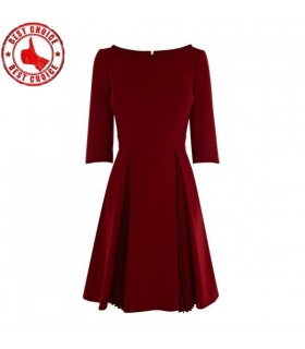 3/4 length sleeve crepe pleated skirt dress