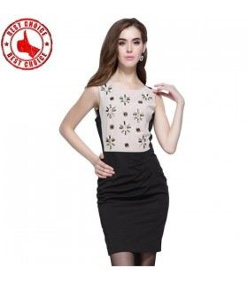 Creative beading special cut dress
