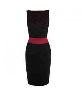 Moderne Satin und Spitze Mode elegante Kleid
