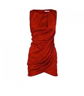 Satin rouge élégant mini robe
