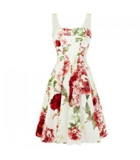 Robe blanche fleur romantique d'impression