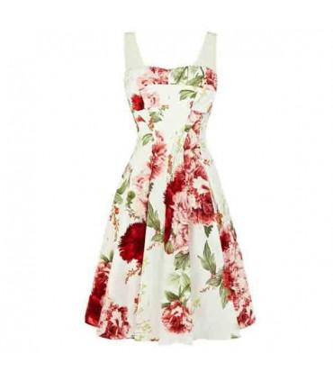 068af99123a Robe blanche fleur romantique d impression