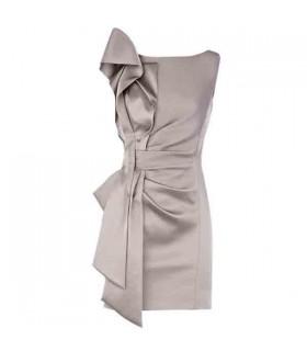 Robe grise plis spéciaux métalliques
